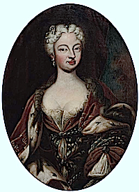 Polissena d'Assia, Queen of Sardinia, (1706-1735), half-length, in an ochre and blue dress and ermine and velvet robe, embroidered with Savoia knots by ? (location unknown to gogm)