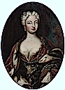 Polissena d'Assia, Queen of Sardinia, (1706-1735), half-length, in an ochre and blue dress and ermine and velvet robe, embroidered with Savoia knots by ? (auctioned)