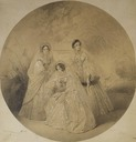 1857 Portrait of Empress-Maria Alexandrovna, Alexandra Iosifovna, and Alexandra Feodorovna (Charlotte of Prussia) seated by ? (location unknown to gogm)