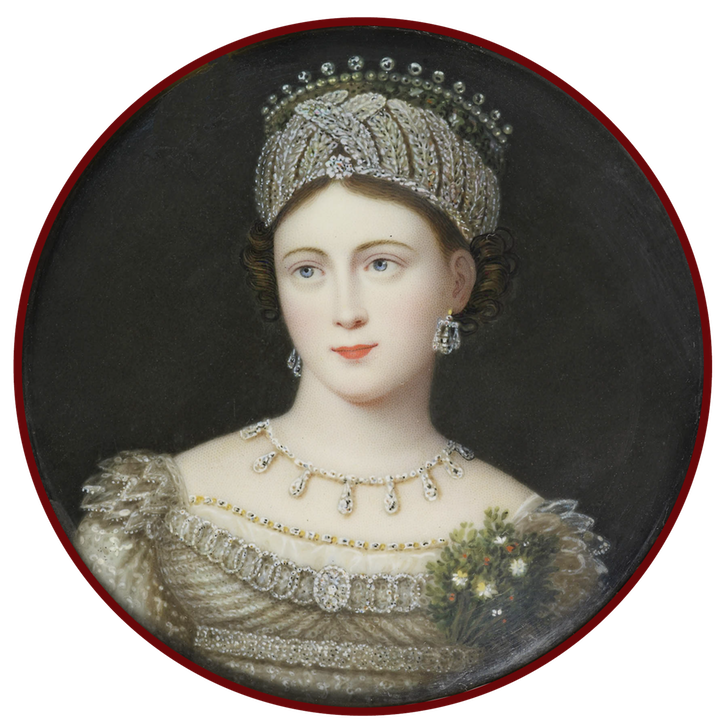 Louisa, Duchess of Saxe-Coburg-Saalfeld (1800-1831) by William Plant (Royal Collection) From the lost gallery despot throughout
