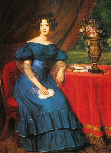 Princess Marianne of Prussia seated wearing blue dress