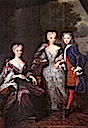 ca. 1725 Princess Marie-Louise and her two children, Princess Amalia and Prince Willem IV, by ? (location unknown to gogm)