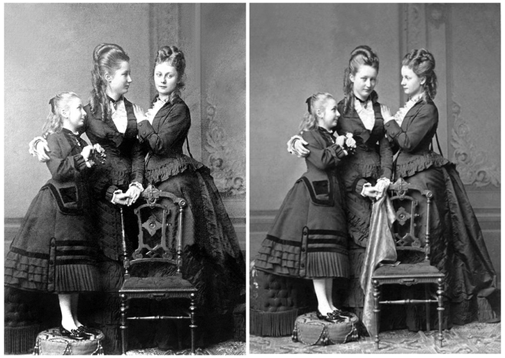 Princesses Feodore, Augusta Victoria (later Empress of Germany), and Karoline Mathilde Victoria of Schleswig-Holstein group portraits From antique-royals.tumblr.com
