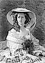 Print after Winterhalter's portrait of Empress Eugénie in a wide-brimmed hat