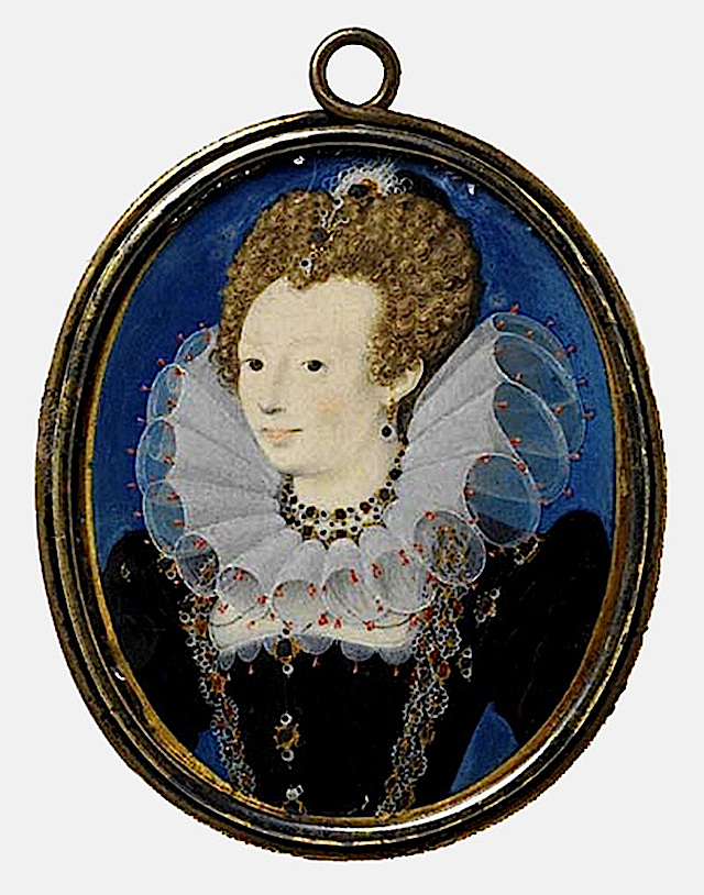 Probably Penelope Devereux, daughter of Lettice Knollys, great-granddaughter of Mary Boleyn lisby1