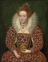 Queen Elizabeth I, in a richly embroidered and bejewelled red dress, holding an orb and sceptre by a follower of Federico Zuccaro (auctioned by Christie's)