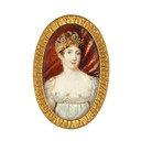 Queen Hortense of Holland wearing a cameo tiara now in the royal jewel collection of Sweden (auctioned)