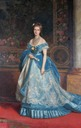 1870 Margherita wearing blue evening dress by Michele Gordigiani (location ?)