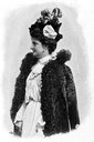 Queen Margherita wearing a cape with a high collar
