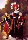 Queen Maria Amalia of the French, with her children Henry of Orleans, Duke of Aumale (1822) and Antoine of Orleans, Duke of Montpensier (1824) by Louis Hersent (Versailles)