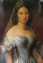 Queen Sophie wearing a white satin dress by ? (location unknown to gogm)