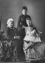 ca. 1885 (estimate based on age of child) Queen Victoria, Princess Beatrice, Victoria of Hesse holding little Alice (of Greece) the lost gallery