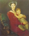 ca. 1813 (estimate based on child) Queen Wilhelmina of the Netherlands and her daughter princess Marianne by ? (location unknown to gogm)