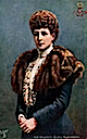 1902 Alexandra wearing coat with fur lapels colorized card