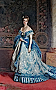 1870 Margherita wearing blue evening dress by Michele Gordigiani (location unknown to gogm)