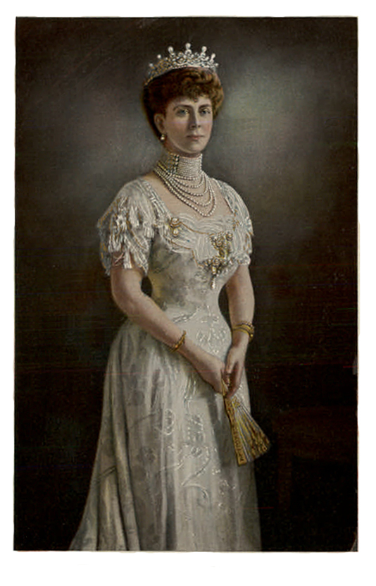 Queen Mary wearing white dress and pearls post card EB