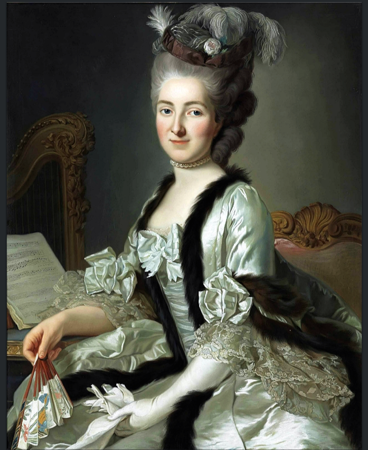Reichsgräfin von Fries, née Gräfin Anna d'Escherny (1737-1807) by Alexander Roslin (auctioned by Christie's) From pinterest.com:LGcostume:xviiie-louis-xvi: b