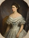Sisi, Empress of Austria wearing dress with elaborate bertha by ? (location unknown to gogm)