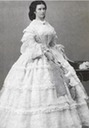 1860 Sisi standing while wearing a white gown by Ludwig Angerer