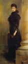 ca. 1893 Sisi posing indoors in slim black dress by ? (location unknown to gogm)