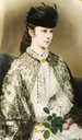 1864 Colorized version of Elisabeth wearing a lace mantle