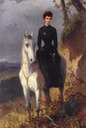Sisi wearing black on a white horse by ? (location unknown to gogm)