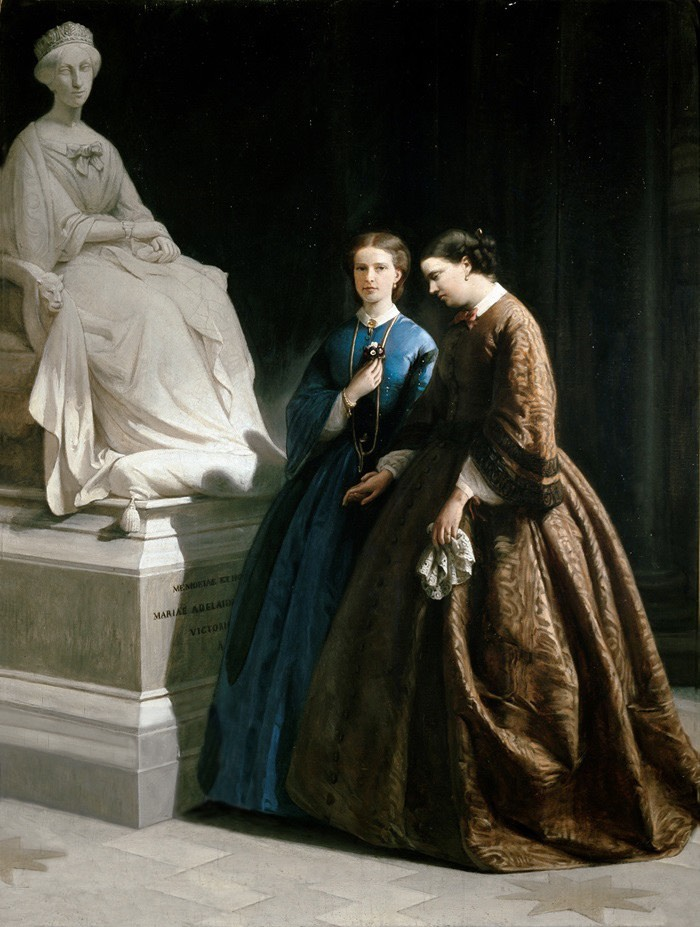 Their Royal Highnesses Princess Maria Pia of Savoy and her sister, Princess Clotilde of Savoy visiting the tomb of their mother, Queen Adelaide of Sardinia by ? (location ?) From theesotericcuriosa.blogspot.com/2015_12_19_archive.html?view=classic