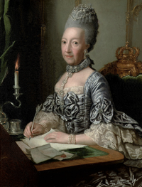Ulrike Sophie, Princess of Mecklenburg-Schwerin (1723-1813), in a silver dress with lace cuffs, seated at a writing desk by George David Matthieu (auctioned by Christie's) size adjusted to 27.62 cm high at 59.06 pixels:cm despot deflaw