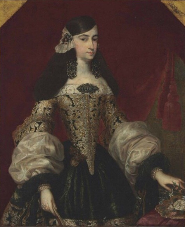 Unknown Lady wearing a tontillo by ? (location ?) From pinterest.com:venusyoungerson:spain-1680s: X 4:3
