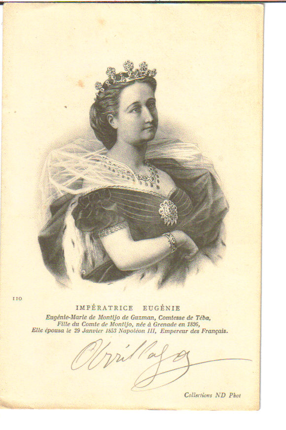 Print of Empress Eugenie wearing a dark dress with pleated bodice